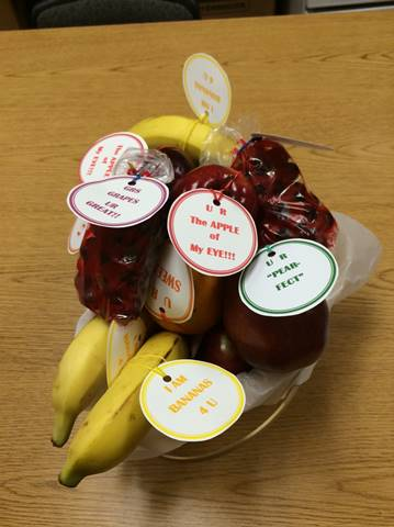 Valentine's Day themed messages attached to bananas, apples, oranges, pears and grapes make this fruit basket that could be purchased through Mary Giella Elementary School cafeteria.