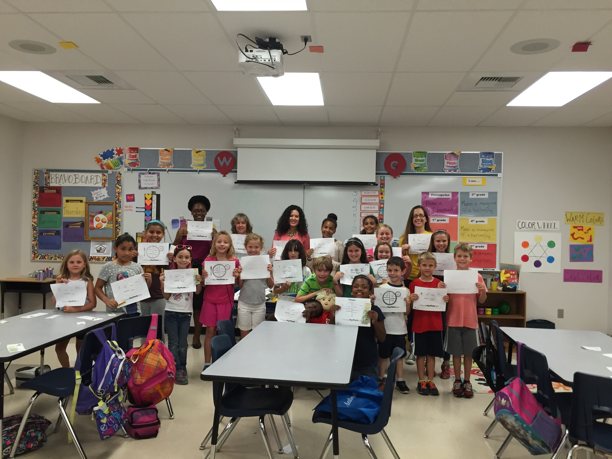 The students at the VES Garden Club hold up their completed MyPlate sheets.