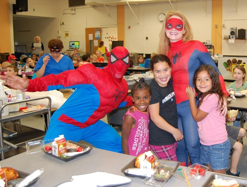 Lake Myrtle Elementary students eat breakfast with Spiderman!